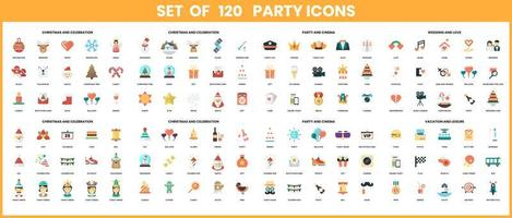 Party icons set for business  vector