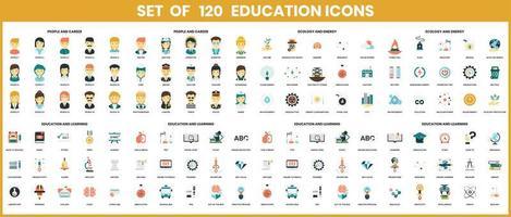 iconos de educación establecidos para negocios vector