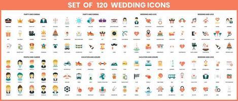 iconos de boda para negocios vector