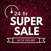 24-Hour Super Sale Confetti Background vector