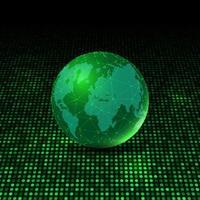 World globe on glowing dots