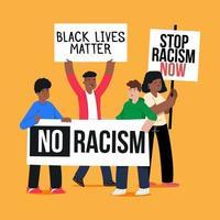 homens e mulheres protestando contra o racismo