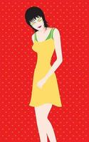 Mujer con ilustración de vector de pelo corto