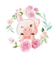 Pig in Floral Wreath vector