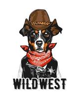 Slogan With Cowboy Sheriff Dog vector
