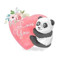 slogan de amor com panda bonito e flor vetor