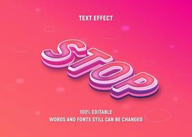 bearbeitbarer rosa, lila isometrischer Text vektor