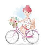 menina e ursinho andando de bicicleta vetor