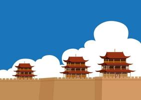 The Great Wall of China with Buildings  vector