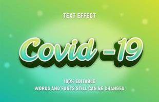 bearbeitbarer grüner, gelber Text covid-19 vektor