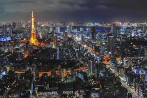 Vista nocturna de Tokio, Japón foto