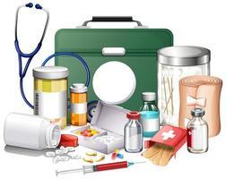 Muchos equipos médicos y medicamentos sobre fondo blanco. vector