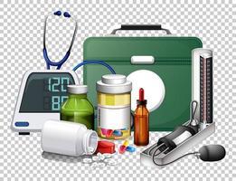 Conjunto de equipos médicos y píldoras sobre fondo transparente. vector