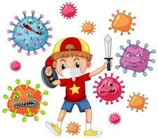 Coronavirus poster design with boy playing vector