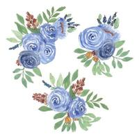 aquarel roos bloemen arrangement set