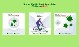 coronavirus covid-19 social media postsjabloon vector