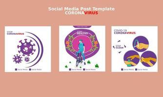 stop coronavirus social media postsjabloon vector