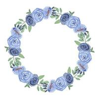 Watercolor Blue Rose Floral Circle Frame vector