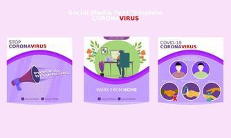 coronavirus social media postsjabloon vector
