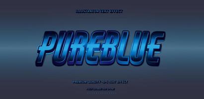 efecto de texto azul puro vector