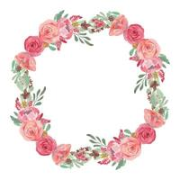 Watercolor Pink Rose Flower Wreath Decoration vector
