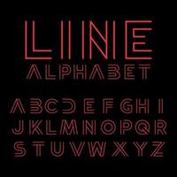 Modern typography line alphabet  vector