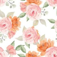 Watercolor Flower Seamless Pattern with Rose Plant