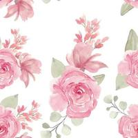 Watercolor Hand Painted Pink Rose Seamless Pattern vector