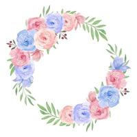 Watercolor Flower Wreath for Decoration