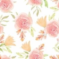 Repeating Pattern with Watercolor Blooming Flower