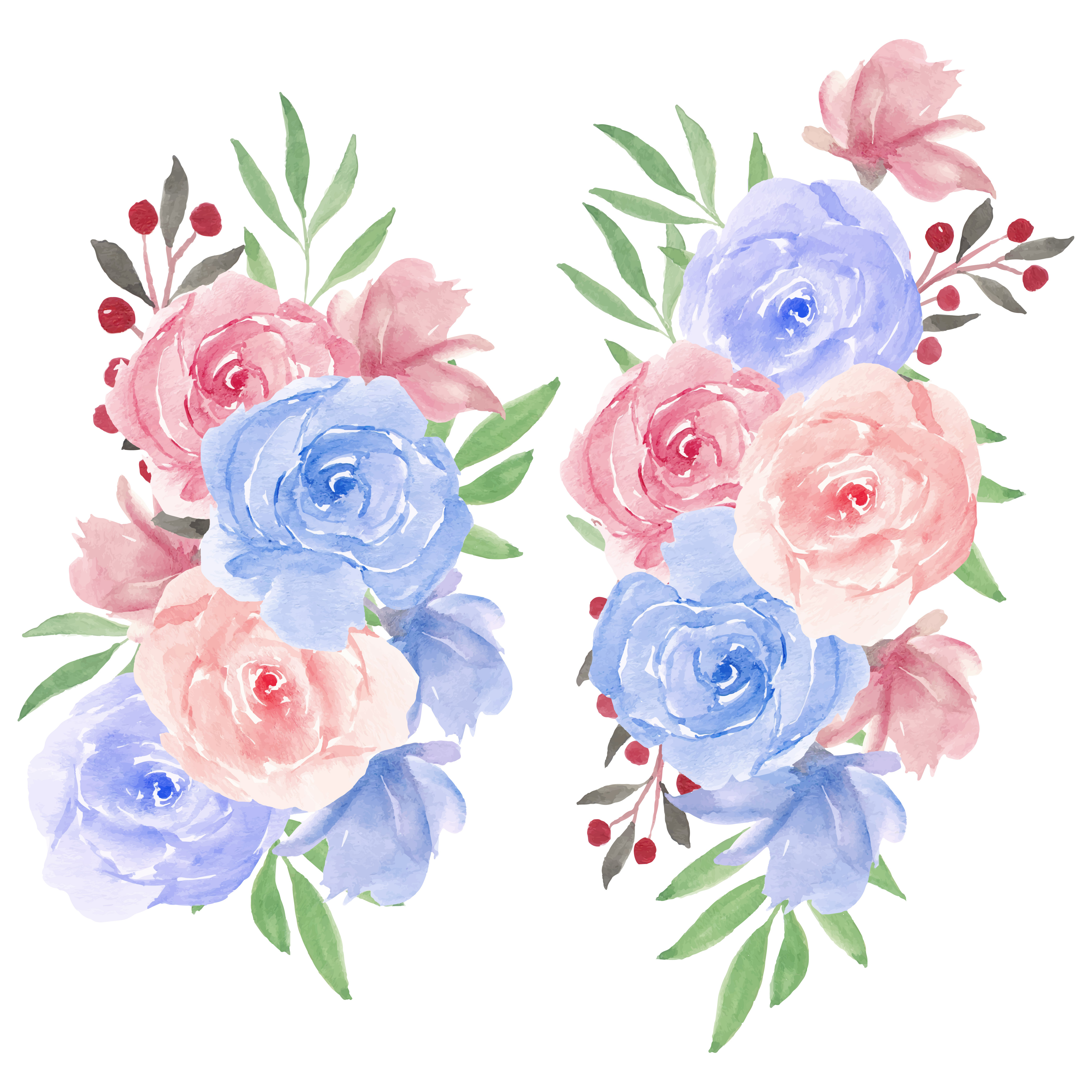 Watercolor Rose Flower Bouquet In Pink Blue Download Free Vectors Clipart Graphics Vector Art