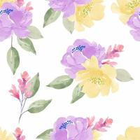 Purple, Yellow Watercolor Peony Seamless Pattern
