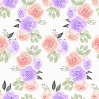 Watercolor Pattern with Purple, Pink Rose Flower