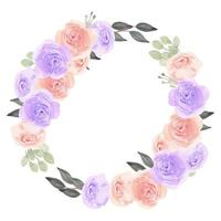 Floral Wreath Circle frame with Watercolor Rose Flower vector