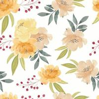 Watercolor Yellow Peony Flower Seamless Pattern
