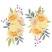 Watercolor Yellow Peony Flower Bouquet