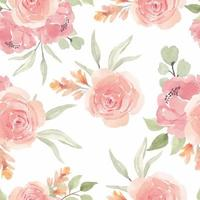 Watercolor Seamless Pattern with Pink Rose Flower