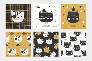 Cat Faces Cards and Seamless Patterns