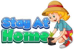 diseño de fuente para quedarse en casa con niña plantando árboles vector
