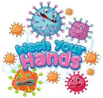 Coronavirus poster design with wash your hands text  vector