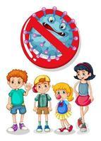 sinal de crianças e vírus vetor