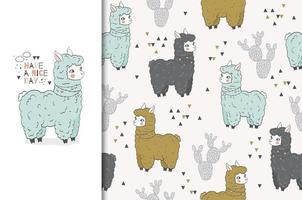 Llama Card and Seamless Pattern Set