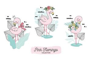Flamingo on Tropical Backdrop Crown and Floral Elements
