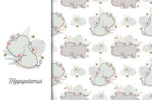 bebê hipopótamo com pano de fundo floral