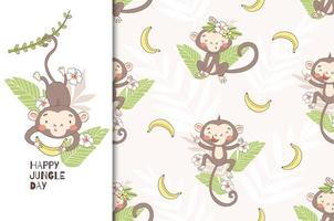 Monkey Baby Swinging on Vine, Holding Banana vector