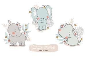 conjunto floral bebé elefante, rinoceronte, hipopótamo vector