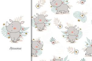 Rhinoceros Baby with Floral Backdrop