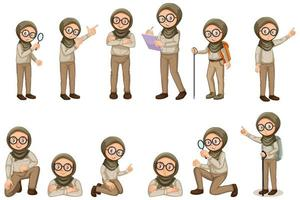 Muslim girl in scout uniform doing different poses on white background vector