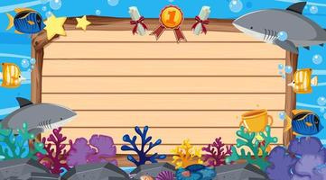 Banner template with sea creatures under the sea vector