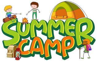 diseño de calcomanías para el campamento de verano con muchos niños en el campamento